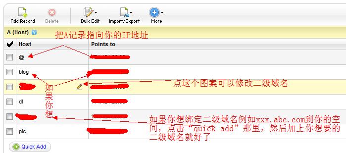 6.正式来到godaddy 域名解析这里了。目前来讲还是挺容易的,当然了,下面的也是很简单大的。一般就是修改一下a记录和cname记录。如图所示,在a记录那里,把默认的ip地址改成你的ip地址。而cname那里,就把www后面的,指向你的域名。例如你的域名是google.com 那么就把www后面的地址写成google.