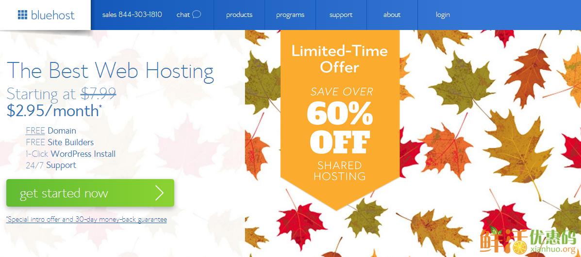 bluehost优惠码 4折2016 仅需$2.95/月 限时48小时促销