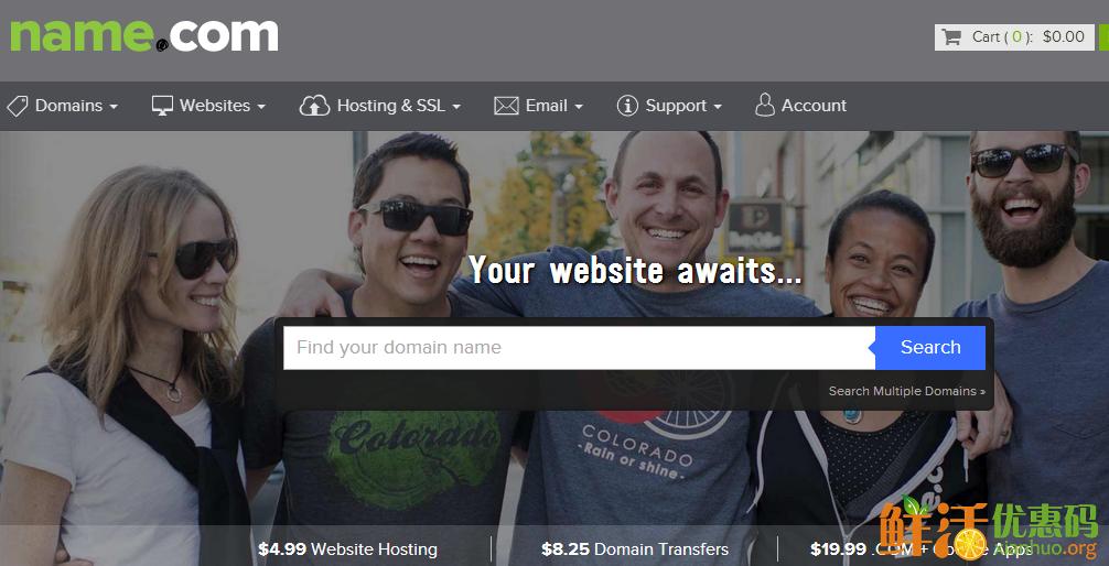 name.com优惠码 域名转入活动 转入.com/.net域名仅需8美元 新注册用再送5美元代金券