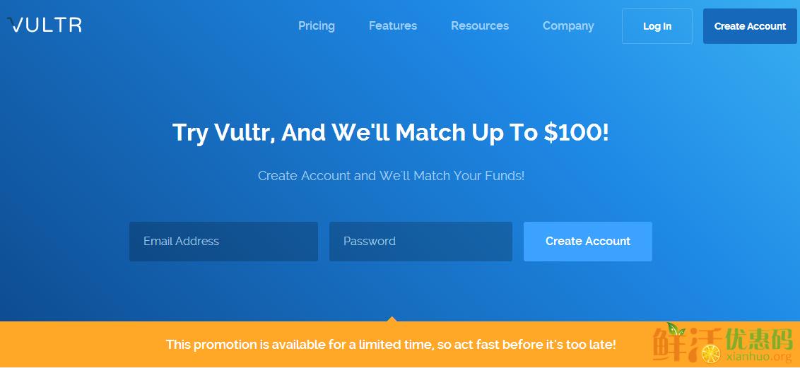 Vultr优惠码2017 充一送一 Vultr最高送100美元 Vultr 50 20美元免费试用 Vultr续费8折优惠码