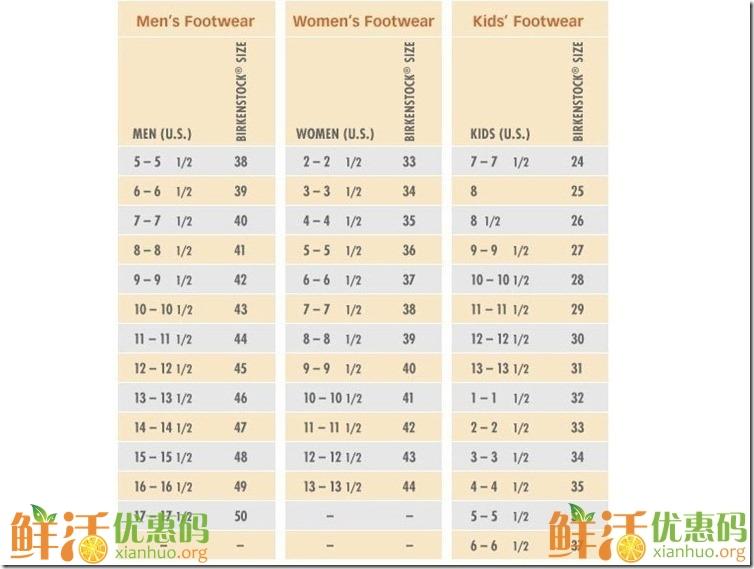 海淘鞋子尺碼對照表大全 海淘鞋子網站大全推薦